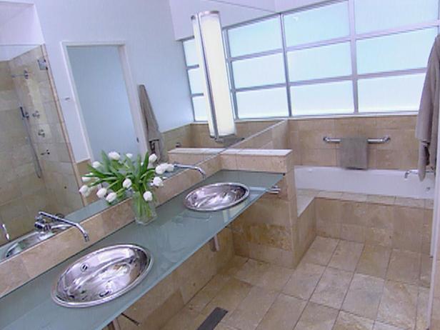 Steel And Limestone Master Bath