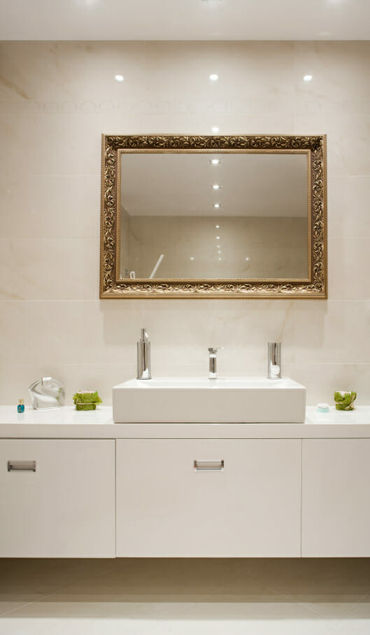 Bathroom interior, countertop with white ceramic sink